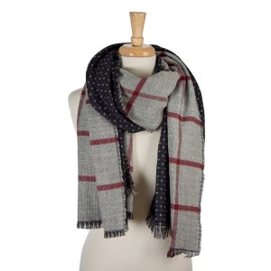"""Gray and navy blue, heavyweight open scarf with a plaid print on one side and polka dots on the other. 100% acrylic. Measures 27"""" x 80"""" in size."""