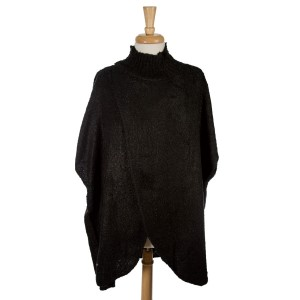 Black short sleeve, mock turtleneck sweater poncho with an open front. 100% acrylic. One size fits most.