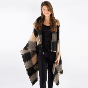 Black and tan checked vest with frayed edges. 100% acrylic. One size fits most.