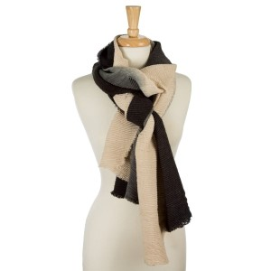 """Accordion pleated, beige and black ombre printed, open scarf. 100% acrylic. Measures 23"""" x 85"""" in length."""