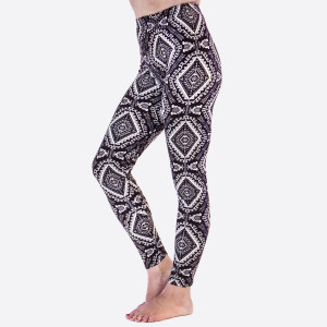 """New Kathy / New Mix printed peach skin leggings are seamless, chic, and a must-have for every wardrobe. These lightweight, full-length leggings have a 1"""" waistband. They are versatile, perfect for layering, and available in many unique prints. 92% Polyester 8% Spandex. One size fits most, fits US women's 0-14."""