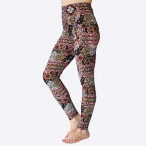 """New Kathy / New Mix printed peachskin leggings are seamless, chic, and a must-have for every wardrobe. These lightweight, full-length leggings have a 1"""" waistband. They are versatile, perfect for layering, and available in many unique prints. 92% Polyester 8% Spandex. One size fits most, fits US women's 0-14."""