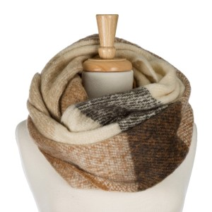 """Heavyweight, soft, plaid printed infinity scarf. 100% polyester. Measures 22"""" x 35"""" in size."""