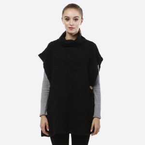 Turtleneck, short sleeve poncho with two wooden buttons along the sides. 100% acrylic. One size fits most.