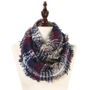 """Heavyweight, knit infinity scarf with a plaid print. 100% acrylic. Measures. 35"""" x 20"""" in size."""