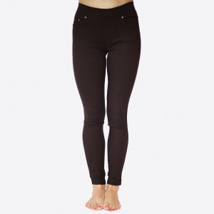 """These 5 pocket, plus size, woven super stretch, twill skinny pull on pants are a must for the season and will go with anything. Sold in packs of 10, five 1X/2X and five 2X/3X. Approx 30"""" inseam. 60% Cotton, 35% Nylon, 5% Spandex."""