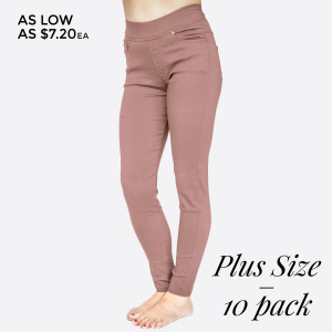 "These 5 pocket, plus size, woven super stretch, twill skinny pull on pants are a must for the season and will go with anything. Sold in packs of 10, five 1X/2X and five 2X/3X. Approx 30"" inseam. 60% Cotton, 35% Nylon, 5% Spandex."