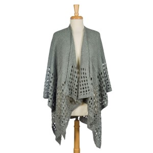 Knit, heavyweight cape with a large loop trim. 100% acrylic. One size fits most.