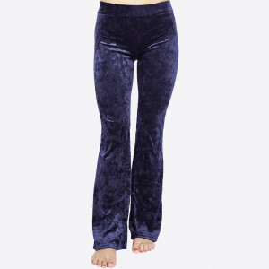 Crushed Velvet Flare Pants featuring a hip-hugging fit, pull-up front closure, and flared legs.   • Elastic at Waist  • Skinny Fit  • Mid Rise  • Pull up Style  • Care: Machine Wash Cold, Do not Bleach, Tumble Dry Low, Iron Low  • Imported   Composition: 95% Polyester, 5% Spandex   Pack Breakdown: 6pcs/pack. 2S: 2M: 2L