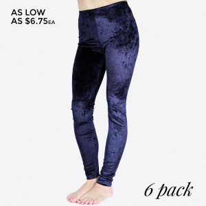 Crushed Velvet Leggings featuring an easy pull-on style and full elastic waistband.  • Elastic at Waist  • Skinny Fit  • Mid Rise  • Pull up Style  • Care: Machine Wash Cold, Do not Bleach, Tumble Dry Low, Iron Low  • Imported   Composition: 95% Polyester, 5% Spandex  Pack Breakdown: 6pcs/pack. 2S: 2M: 2L