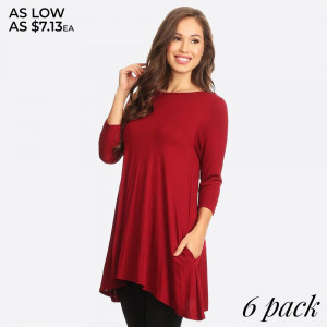 Lightweight jersey knit Tunic sweeps across a rounded neckline and falls to fitted three-quarter sleeves. Comfy swing silhouette flares gently to a perfect finish. Hidden side seam pockets.   - Relax Scoop Neckline  - Fitted Sleeves  - Side Pockets  - Swing Style Bodice  - Solid Color  - Closure Style: Pullover  - Hand Wash Cold/Tumble Dry/Iron Low/Do not Dry Clean  - Import   Content: 95% Rayon, 5% Spandex   Pack Breakdown: 6pcs/pack. 2S: 2M: 2L