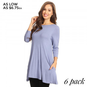 Lightweight jersey knit Tunic sweeps across a rounded neckline and falls to fitted three-quarter sleeves. Comfy swing silhouette flares gently to a perfect finish. Hidden side seam pockets.   � Relax Scoop Neckline  � � Fitted Sleeves  � Side Pockets  � Swing Style Bodice  � Solid Color  � Closure Style: Pullover  � Hand Wash Cold/Tumble Dry/Iron Low/Do not Dry Clean  � Import   Content: 95% Rayon, 5% Spandex   Pack Breakdown: 6pcs/pack. 2S: 2M: 2L