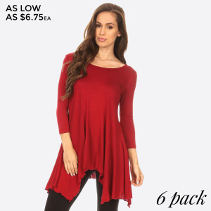 Solid jersey knit tunic top with 3/4 sleeves, round neckline, and asymmetrical hem, keeping it simple, yet sexy, for an instant style staple! Pair it with your favorite bottoms for an effortlessly chic look!   • Round Neckline  • 3/4 Sleeve  • Asymmetrical Hemline  • Closure Style: Pullover  • Rayon/Spandex  • Machine wash; lay flat to dry  • Import   Content: 95% Rayon, 5% Spandex   Pack Breakdown: 6pcs/pack. 2S: 2M: 2L