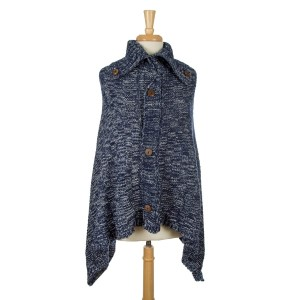 Turtleneck knit poncho with wooden button accents. 100% acrylic. One size fits most.