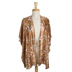 Crushed velvet, short sleeve kimono with a large floral pattern. 95% polyester and 5% spandex. One size fits most.