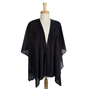 Crushed velvet, short sleeve kimono striped pattern. 100% polyester. One size fits most.