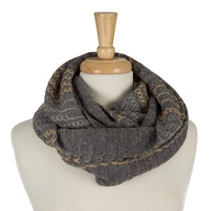 "Heavyweight, infinity scarf with embroidery details. 70% acrylic and 30% angora wool. Measures 15"" x 30"" in size."