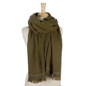 """Solid, open scarf with and embroidered trim and frayed edges. 100% acrylic. Measures 36"""" x 72"""" in size."""