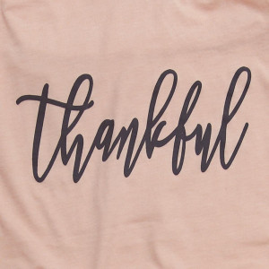 Thankful - Short Sleeve Boutique Graphic Tee. Sold in 6 pack. S:1 M:2 L:2 XL:1  52% Cotton, 48% Polyester