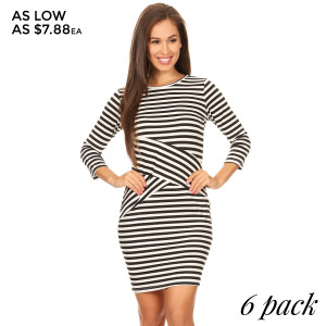 Soft, stretch modal knit dress. Three-quarter length sleeves, Boat neck and All over stripes. Fitted silhouette hugs your curves, while an easy pullover design eliminates hassle.   • Boat Neckline  • Three-quarter sleeves  • Closure Style: Pullover  • Hand Wash Cold. Tumble Dry.  • Import  • All Over Stripes  • Comfortable Dress  • Super Soft   Content: 95% Rayon, 5% Spandex   Pack Breakdown: 6pcs/pack. 2S: 2M: 2L