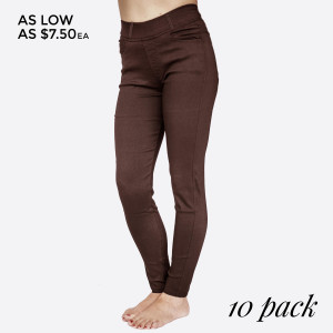Stretch Twill 5 Pocket Skinny Pants with Belt Loop. 60% Cotton, 35% Nylon, 5% Spandex. 10 pack: 5 S/M 5 M/L Made in China.