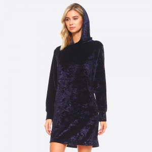 Icy Velvet Hooded Pocket Dress. This laid back shift sweater dress in a velvet bodice features a classic hooded styling. Crafted with a glamorous crushed velvet fabric, front side pockets, and long sleeves. A boxy silhouette is casual and cute for any occasion.   • Velvet Fabric  • Hooded  • Front Side Pockets  • Long Sleeves  • A Boxy Silhouette  • Closure Style: Pullover  • Hand Wash Cold. Tumble Dry.  • Import   Content: 95% Rayon, 5% Spandex   Pack Breakdown: 6pcs/pack. 2S: 2M: 2L