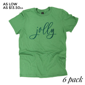 Jolly - Short Sleeve Boutique Graphic Tee.  These t-shirts are sold in a 6 pack. S:1 M:2 L:2 XL:1 Color: Green Apple, 50% Cotton 50% Polyester Brand: Anvil