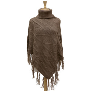Knit, turtleneck poncho with fringe tassels along the bottom hem and a cable knit pattern. 100% acrylic. One size fits most.
