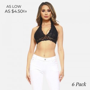 Halter style bralette with a v-neckline, a mesh lining, triple hook and eye closure, and a scalloped trim. 95% nylon and 5% spandex. Sold packs of six - 2S, 2M, 2L.