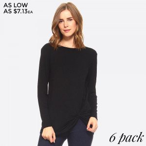 Update your casual style with this long sleeve tee, which features a knotted front design at the hem, a relaxed fit and scoop neckline. 95% rayon and 5% spandex. Sold in packs of six - 2S, 2M, 2L.