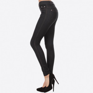 Black denim jeggings with real front and pack pockets.  90% polyester and 10% spandex. Sold in packs of six - two S/M and four M/L.