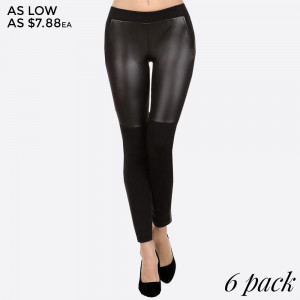 Liquid, faux leather leggings with contrasting black, knit fabric and two side pockets. 90% polyester and 10% elastane. Sold in packs of six - 2 S/M, 2 M/L, 2 L/XL.