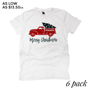 Merry Christmas Truck - Short Sleeve Boutique Graphic Tee. These t-shirts are sold in a 6 pack. S:1 M:2 L:2 XL:1 Color: White, 50% Cotton 50% Polyester Brand: Anvil