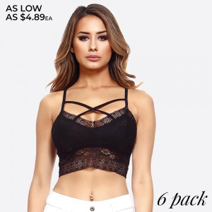 Semi sheer lace bralette featuring floral lace detailing and scalloped trim.  • V-Neckline  • Spaghetti Straps w/ crisscross strappy front  • Wide Bottom Lace Band  • Removable/Padded Cups  • Closure Style: Pullover  • Hand Wash Cold. Hang Dry. Do not Bleach  • Imported   Composition: 95% Nylon, 05% Spandex   Pack Breakdown: 6pcs/pack. 2S: 2M: 2L