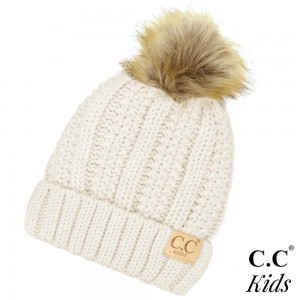"C.C Kids Exclusive faux fur pom pom beanie. 100% acrylic. Measures 7"" in diameter and 8"" in length. Approximate fit: 4 to 7 years of age."