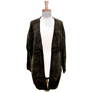 Long sleeved, green chenille cardigan with an open front and a super soft feel. 100% acrylic. One size fits most.