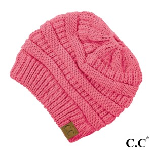 Messy-bun, C.C beanie in new candy pink. 100% acrylic.