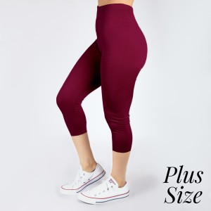 PLUS SIZE - New Kathy / New Mix burgundy, summer-weight capris are seamless, chic, and a must-have for every wardrobe. These lightweight, interchangeable styles are versatile, perfect for layering, and available in many shades. Smooth fabric, 92% Nylon 8% Spandex. One size, fits US women's 16-20.