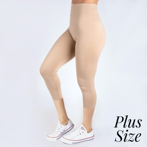PLUS SIZE - New Kathy / New Mix khaki, summer-weight capris are seamless, chic, and a must-have for every wardrobe. These lightweight, interchangeable styles are versatile, perfect for layering, and available in many shades. Smooth fabric, 92% Nylon 8% Spandex. One size, fits US women's 16-20.
