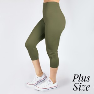PLUS SIZE - New Kathy / New Mix olive, summer-weight capris are seamless, chic, and a must-have for every wardrobe. These lightweight, interchangeable styles are versatile, perfect for layering, and available in many shades. Smooth fabric, 92% Nylon 8% Spandex. One size, fits US women's 16-20.