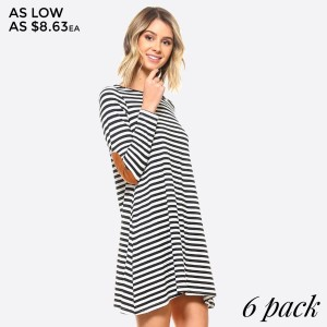 Faux Suede Elbow Patch Striped Dress. Make some time to chill out in this carefree t-shirt dress. Crafted with super soft jersey knit in a relaxed fit, it's ideal for pairing with accessories and your favorite casual kicks.   • Scoop Neckline  • Long Sleeve w/ Elbow Patch  • Side Pockets  • Super Soft, Stretchy  • Relaxed Fit  • Closure Style: Pullover  • Rayon/Spandex  • Machine wash, lay flat to dry   Content: 95% Rayon, 5% Spandex   Pack Breakdown: 6pcs/pack. 2S: 2M: 2L