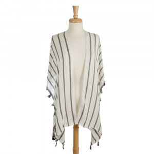 Lightweight, white kimono with a stripe pattern and tassel accents. 100% viscose. One size fits most.