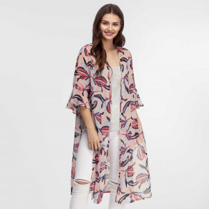 Lightweight, short sleeve kimono with a tropical print and a ruffled sleeve. 100% polyester. One size fits most.