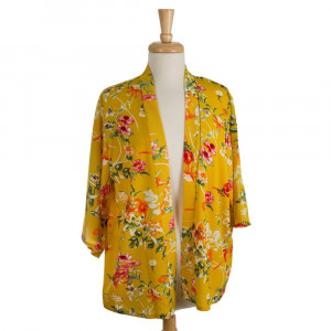 Lightweight, 3/4 length sleeved kimono with a tropical floral print. 100% polyester. One size fits most.