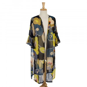 Lightweight, short sleeve kimono with a large floral print and flutter sleeves. 100% polyester. One size fits most.