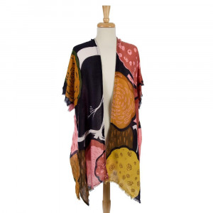 Lightweight short sleeve kimono with a tropical print and a frayed bottom edge. 100% viscose. One size fits most.