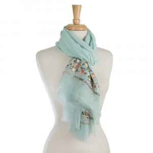 "Lightweight solid scarf with floral embroidery on the ends. 35% viscose and 65% polyester. Measures 28"" x 72"" in size."