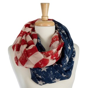 "Lightweight, American flag printed infinity scarf. 100% polyester. Measures 36"" x 36"" in size."