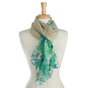"""Lightweight, open scarf with a floral print. 100% polyester. Measures 36"""" x 72"""" in size."""