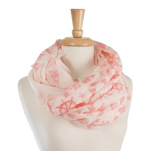"Lightweight, white infinity scarf with a nautical print. 100% polyester. Measures 28"" x 36"" in size."